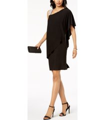 r & m richards one-shoulder rhinestone-embellished dress