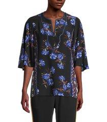 kobi halperin women's gabbi floral silk blouse - black multicolor - size xs