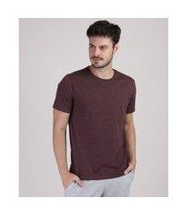 camiseta masculina básica listrada manga curta gola careca vinho