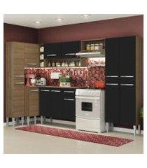 cozinha completa de canto reto madesa emillylovecom armário e balcão 13 portas 1 gaveta rustic/preto rustic/preto