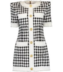 houndstooth button down tweed dress