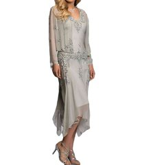 dislax appliques mother of the bride dresses with jacket silver grey us 18plus