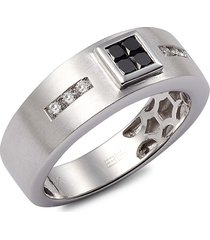 effy men's 14k white gold, black & white diamond ring - size 10
