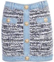 balmain skirt denim and tweed short low rise