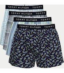 tommy hilfiger men's cotton classics boxer 4pk preppy glen/madras check/patina/tennis print - s