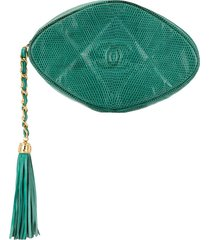 chanel pre-owned quilted fringed pouch - green