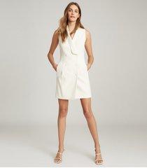 reiss antoine - sleeveless tuxedo dress in white, womens, size 14