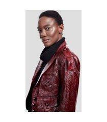 blazer de couro 70's vermelho disco - 40