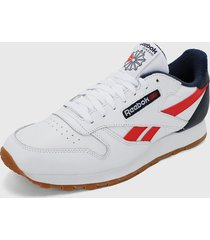 tenis running blanco-rojo-azul reebok classic leather
