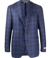 canali woven check-pattern blazer - blue