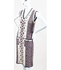 cream red navy alpaca wool cashmere knit sleeveless sweater dress sz 38