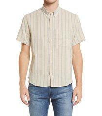 men's billy reid kirby slim fit stripe short sleeve button-down shirt, size large - yellow