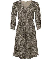 geisha jurk jacquard leopard beige