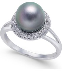 cultured tahitian pearl (8mm) & diamond (1/5 ct. t.w.) halo ring in 14k white gold