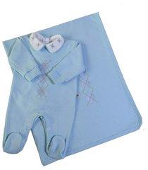kit saída maternidade macacão em suedine 3 peças azul