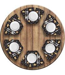 jogo americano love decor para mesa redonda wevans espirito natalino escandinavo kit com 6 pçs