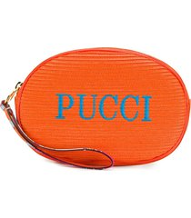 emilio pucci embroidered logo cosmetic bag - 514-arancio