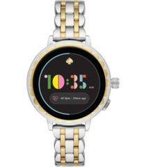kate spade new york women's scallop 2 two-tone stainless steel bracelet smart watch 41mm, powered by wear os by google