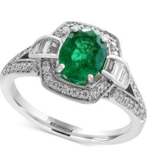 brasilica by effy emerald (1-1/8 ct. t.w.) and diamond (3/8 ct. t.w.) ring in 14k white gold, created for macy's