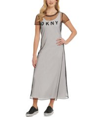 dkny mesh overlay logo dress