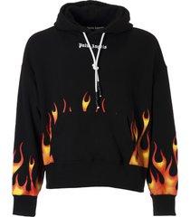 palm angels flames printed hoodie