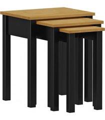 kit mesas de apoio finestra linha madri cor carvalho/ preto