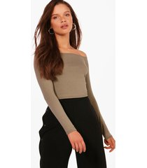 basic long sleeve bardot crop top, khaki