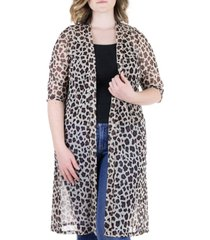 plus size sheer animal print knee length cardigan