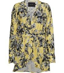 afton blouse blus långärmad gul raiine