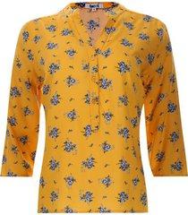 blusa mujer print flores color amarillo, talla m