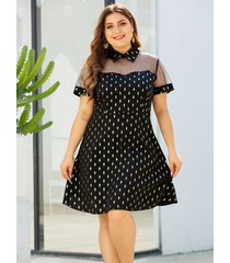 vestido de manga corta con cuello clásico negro talla grande