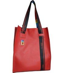 bolso de cuero rojo leblu tote bag