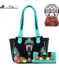 2clrs montana west concealed carry buckle floral tote & wallet set