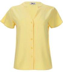 blusa m/c unicolor color amarillo, talla 10