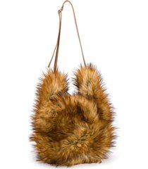 mm6 maison margiela faux fur tote - brown