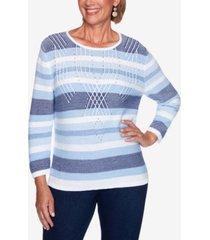 women's missy denim friendly texture stripe sweater