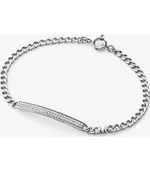 mk bracciale con placca in pavé e maglie a catena in argento sterling placcato in metallo prezioso - argento (argento) - michael kors