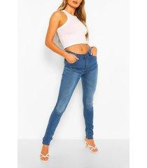 high rise 5 pocket skinny jeans, mid blue