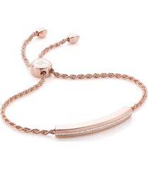 linear diamond chain bracelet, rose gold vermeil on silver