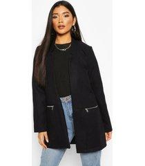 zip pocket wool look coat, navy