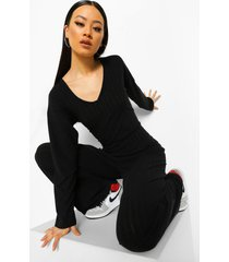 baggy jumbo geribbelde wide leg jumpsuit, black