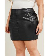 falda de diseño con cremallera de cuero sintético negro talla grande de yoins