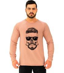 camiseta manga longa moletinho alto conceito caveira topete bigode francãªs rosa  - rosa - masculino - algodã£o - dafiti