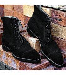handmade men's black color cap toe ankle boots, men suede black ankle boots