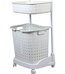 vintiquewise 2 tier plastic laundry basket with wheels