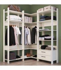 closet 2 gavetas 12 prateleiras cbcla04 off white - completa móveis