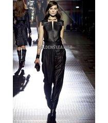 women pure leather jumpsuit genuine lambskin catsuit romper all color tailor-204