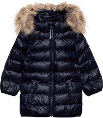 d1. gant faux fur puffer jacket gevoerd jack blauw gant