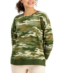 style & co petite camouflage-print sweatshirt, created for macy's