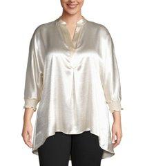 anne klein plus size split-neck tunic blouse